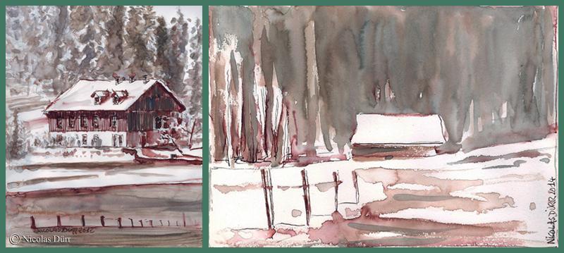 """A gauche, la Maison d'hôtes """"Chez les Colin"""", à droite, grange dans les environs."""