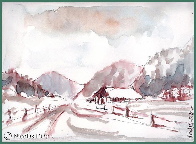 Relevé rapide d'un paysage aux environs des Gras, dans le Haut Doubs, entre Pontarlier et Morteau. D'après une aquarelle d'Alain Marc.