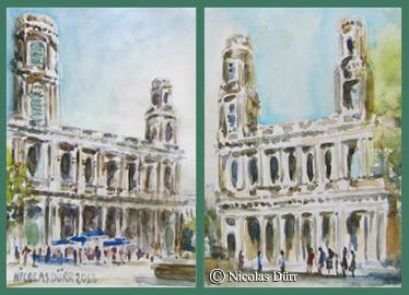 2 points de vue sur la façade de St Sulpice