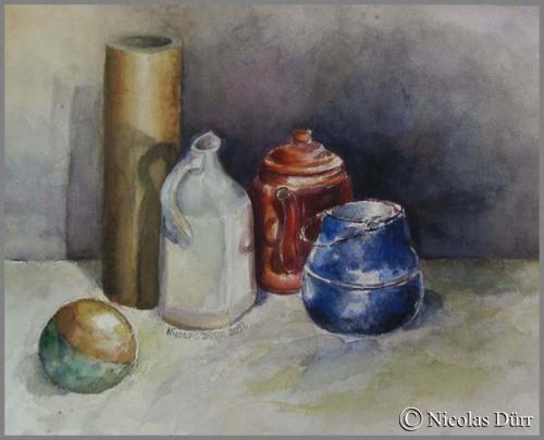 Boule et cylindre en aquarelle