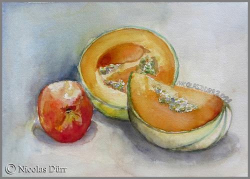 Melons et brugnon en aquarelle