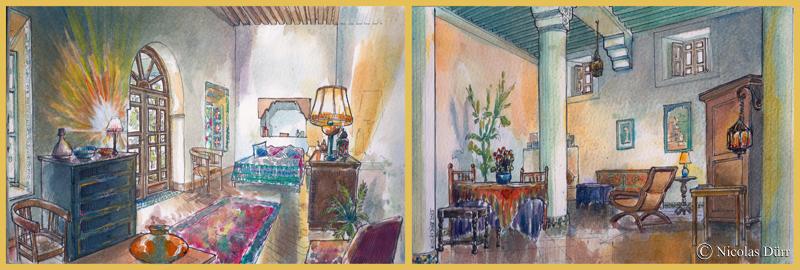 Chambre donnant sur le patio et grand salon. Aquarelles.