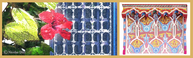 Montage numérique des éléments végétaux, architecturaux et décoratifs du patio du riad Sahara Nour.