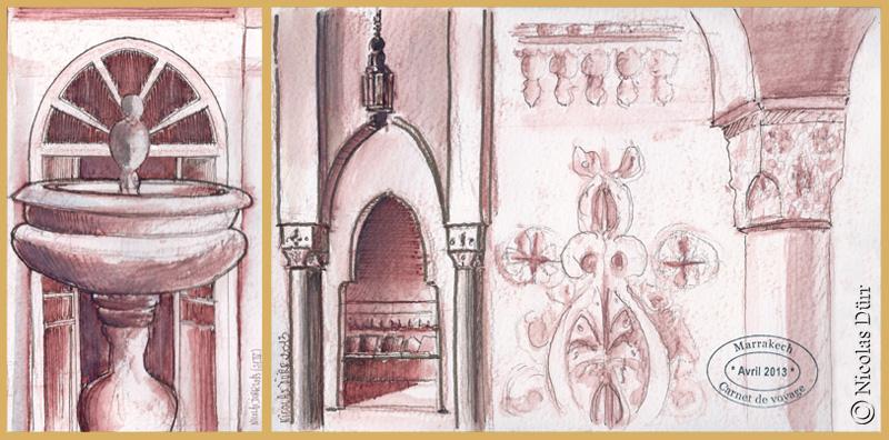 Fontaine, chapiteaux en stuc, colonnes, etc...