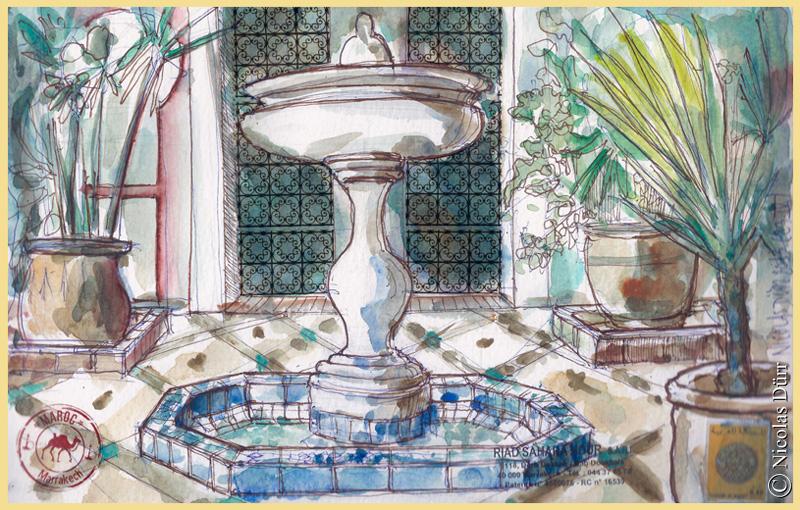 Au centre du patio, cet élément complète la sensation de fraîcheur qu'apporte la végétation. Absolument indispensable pour une ville comme Marrakech.
