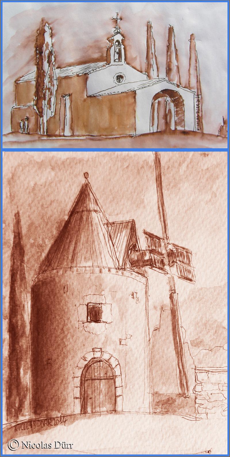 La chapelle St sixte à Eygalières et le moulin de Ventabren, mai 2014