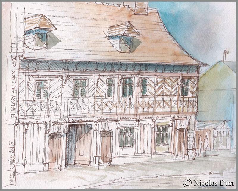 """Etude aquarellée sur la """"maison henri IV"""", septembre 2015"""