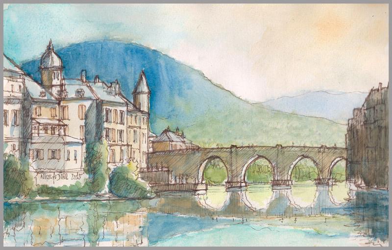 Le pont de St Geniez d'Olt en aval