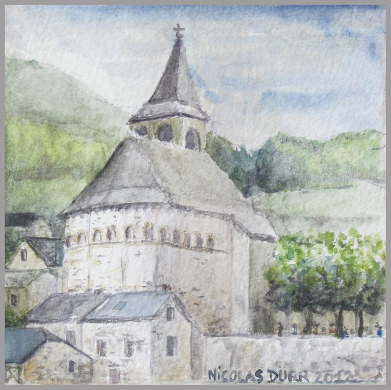 2012-aquarelles-aubrac-vue-6-st-eulalie-d-olt-église