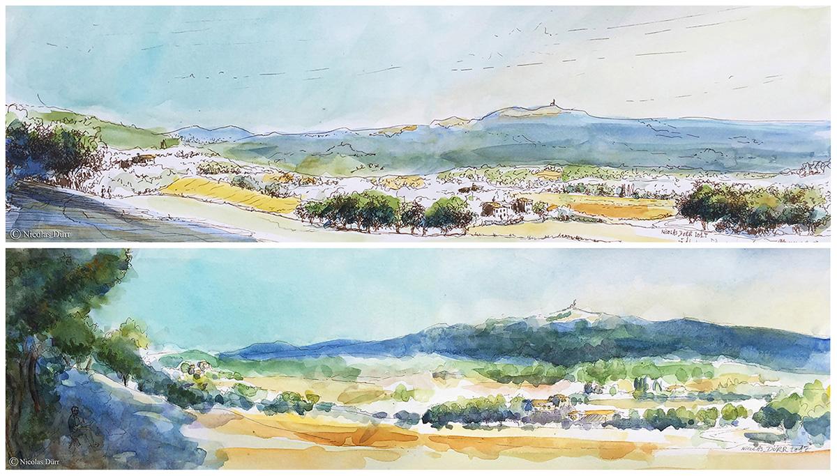 Voici deux versions de la montagne de Lure suivi des toitures de Mane avec la montagne du Lubéron et l'Observatoire de Provence en arrière plan.